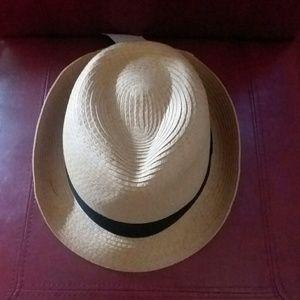 Beige Panama Hat with Black Band - UNISEX